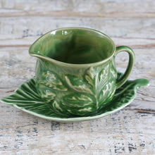 Load image into Gallery viewer, Small Leaf Print Jug & Matching Saucer