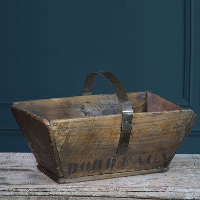Large Dark Wooden Trug with Metal Handle