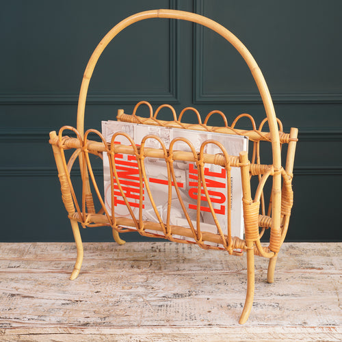 Rounded Pale Bamboo Magazine Rack