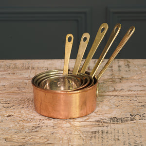 Set of Five Tiny Copper Pans