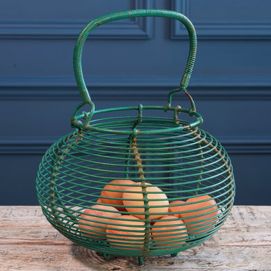 Green Wire Round Egg Basket