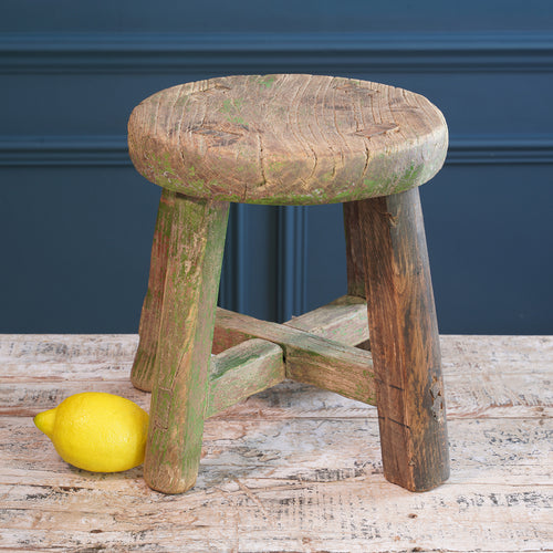 Small Wooden Stool with Faded Paint Detail