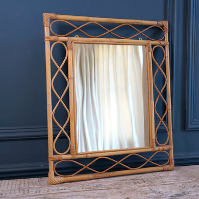 1970s Rectangular Bamboo Mirror
