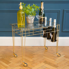 Load image into Gallery viewer, 1970s Gold Metal Wire Bar Cart