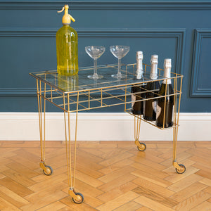 1970s Gold Metal Wire Bar Cart