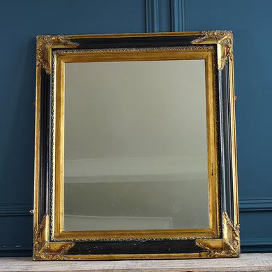 Gilt and Black Lacquer Mirror