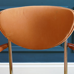 Pair of 1970s Orange Velour Casino Chairs