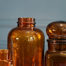 Load image into Gallery viewer, Set of Three Vintage Amber Glass Jars