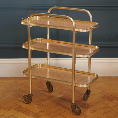 1970s Slim Rectangular Gold Metal Bar Cart