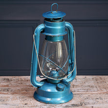 Load image into Gallery viewer, Large Blue Metal Hurricane Lamps