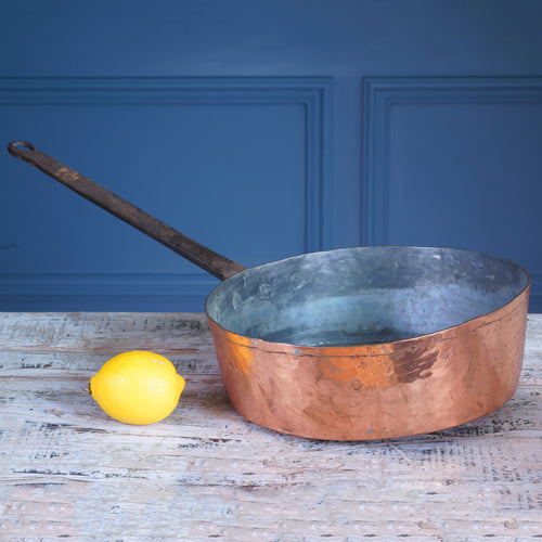 Large Copper and Cast Iron Frying Pan
