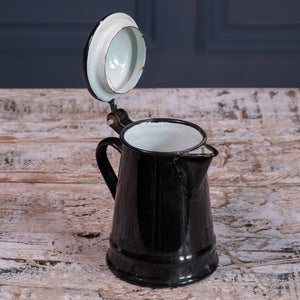 Mini Black Enamel Jug with Lid