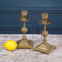 Load image into Gallery viewer, Pair of Square Brass Candlesticks