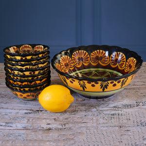 Set of Eight 1970s Mini Dessert Bowls and Matching Serving Bowl