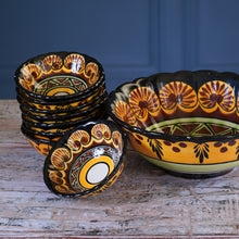 Load image into Gallery viewer, Set of Eight 1970s Mini Dessert Bowls and Matching Serving Bowl