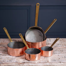Load image into Gallery viewer, Set of Five Copper Pans