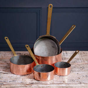 Set of Five Copper Pans