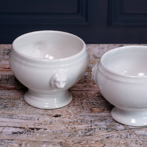 Set of Six White Belgian China Soup Bowls with Lion and Leopard Handles