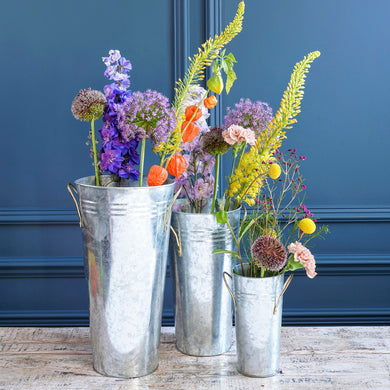 Set of Three Florists Silver Metal Buckets