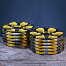 Load image into Gallery viewer, Set of Twelve Handpainted Brittany Yellow, Cream and Black Oyster Plates