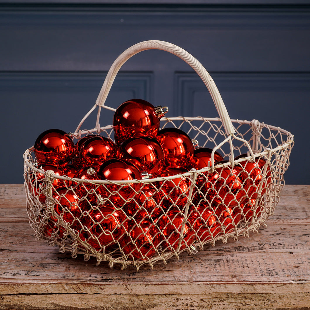 White Wire Metal Egg Basket
