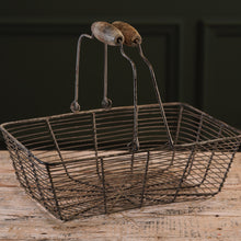 Load image into Gallery viewer, Rectangular Wire Egg Basket with Wooden Handle