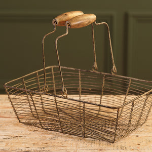 Rectangular Wire Egg Basket with Wooden Handle