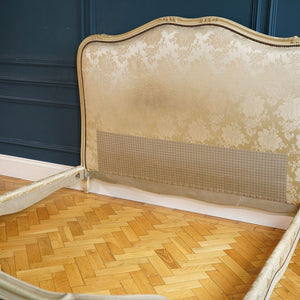 Cream Satin Damask Double Bed