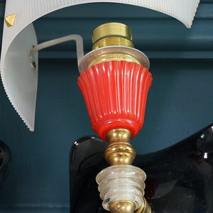 1960s Red, White, Perspex and Brass Ceiling Light with Two Matching Wall Lights
