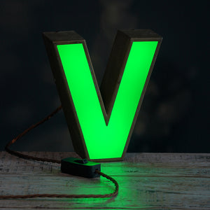 V Green Perspex and Metal Letter Light