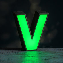 Load image into Gallery viewer, V Green Perspex and Metal Letter Light