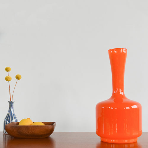 Vintage Orange Glass Vase in the Manner of Holmegaard