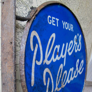 Vintage Double-Sided Enamel Sign - Player's Please