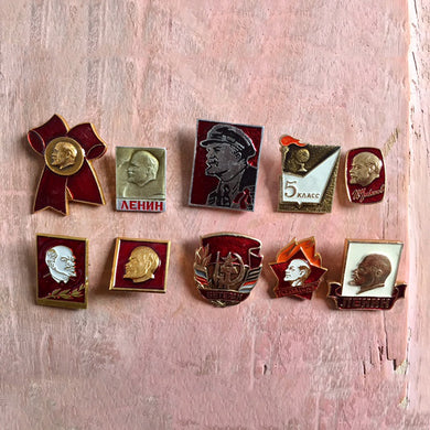 Vintage Lenin Pin Badges From Russia - Set of 10