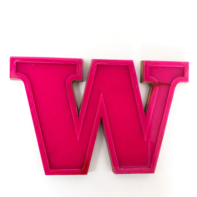 W - Medium Factory Shop Letter Ply Wood & Perspex Pink