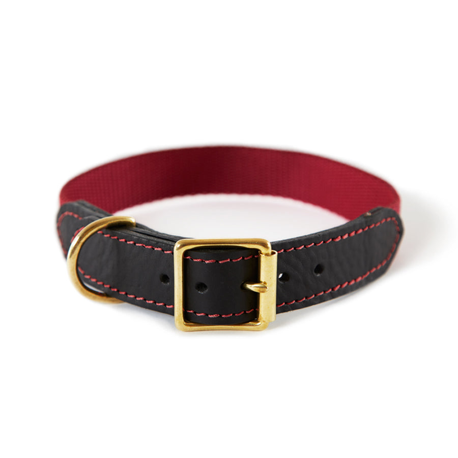 Leather & Webbing Collar-Burgundy-XL