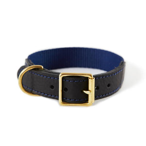 Leather & Webbing Collar - Navy
