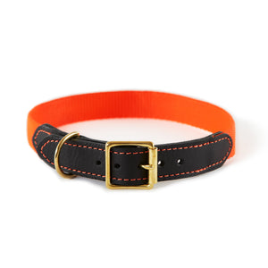 Leather & Webbing Collar-Orange-Medium