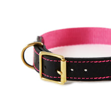Load image into Gallery viewer, Leather & Webbing Collar-Pink-Large