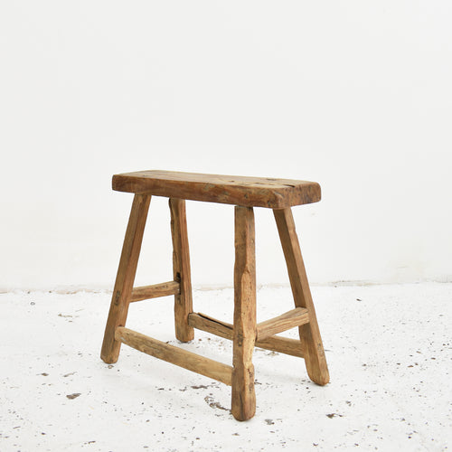 Wide Seat Antique Elm Stool