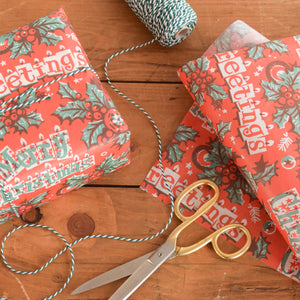 Vintage Original 1950s Christmas Wrapping Paper / Gift Wrap by the Metre