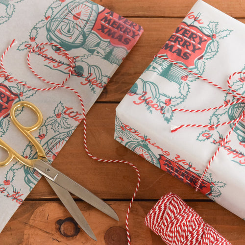 Vintage Original 1950s Christmas Wrapping Paper / Gift Wrap by the Metre - White