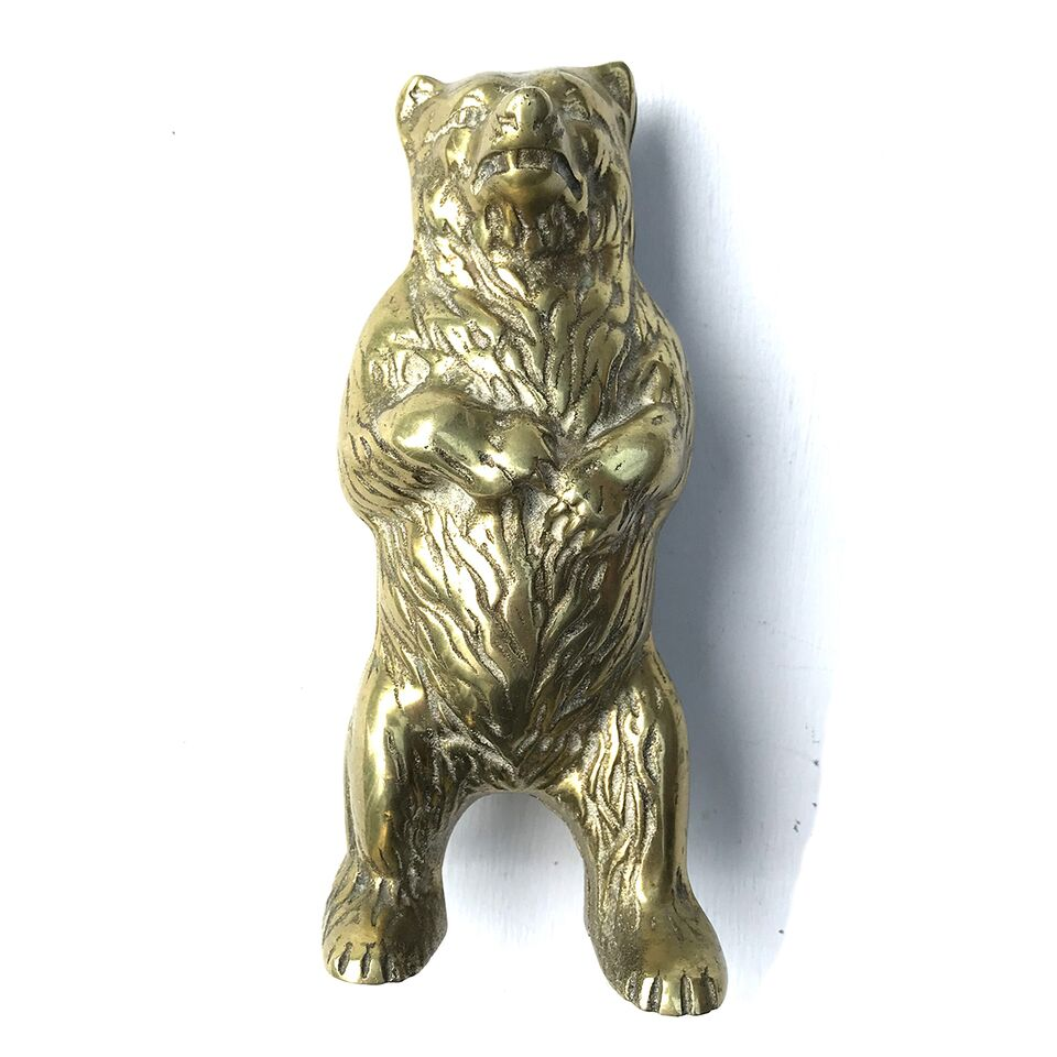 Cast Bear Money Box - Brass