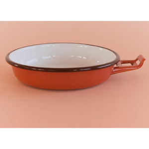 Vintage Small Shallow Terracotta Enamel Frying Pan