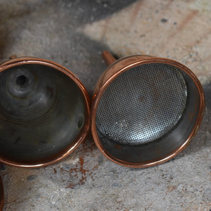 Antique Copper and Brass Funnels Sieves Kitchen