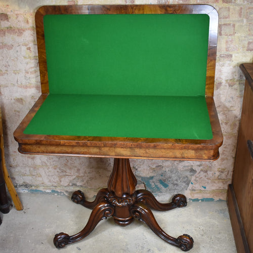 Antique Victorian Fold Over Card Table Console Hall Occasional Sofa
