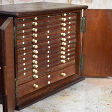 Load image into Gallery viewer, Antique Mahogany Coin Cabinet Collectors Cabinet Bank of Drawers
