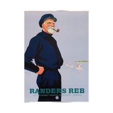 Load image into Gallery viewer, Original Danish Advertising Sailor Smoking 'Rander's Rope' Poster 1947