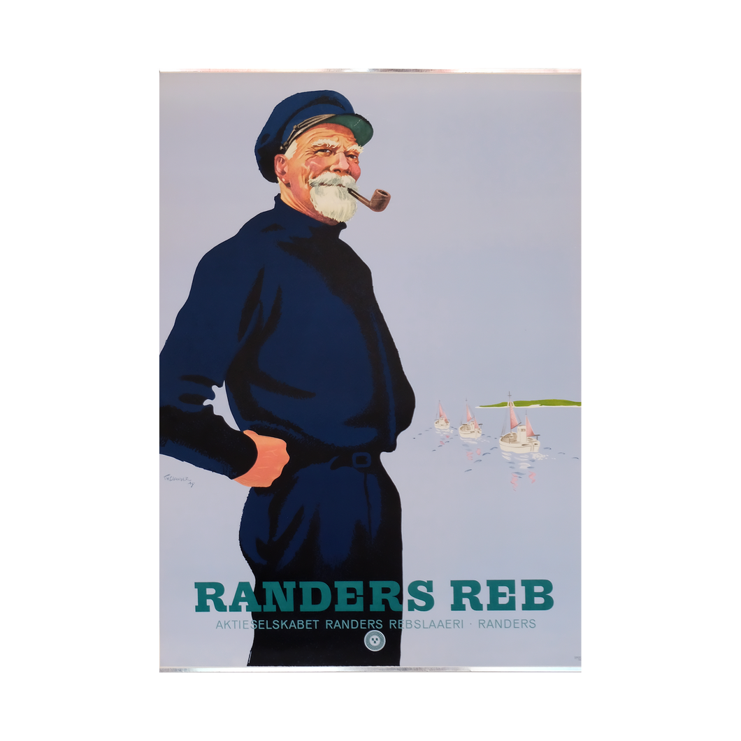 Original Danish Advertising Sailor Smoking 'Rander's Rope' Poster 1947