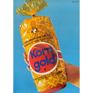 Original 'Korn Gold' Swiss Advertising Egg Noodles Poster 1960s